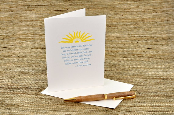 Far away there in the sunshine... -  Louisa May Alcott quote - letterpress.com
