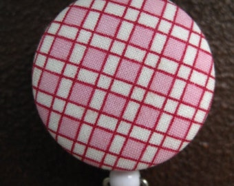 Clip On Retractable Badge Reel / Lanyard with Fabric Covered Button - Pink and White Plaid