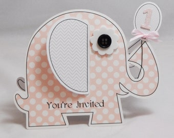 Girl Elephant Shaped Invitations- 1st Birthday- Pink and Grey- Set of 10