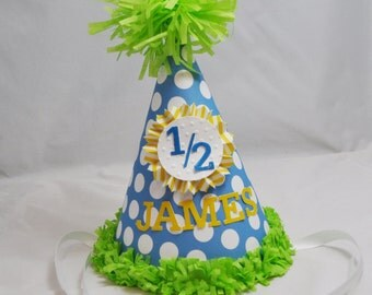 Boy 1/2 Birthday Hat- Personalized- 6 Month Party Hat