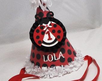 Ladybug 1st Birthday Party Hat Girl- Personalized