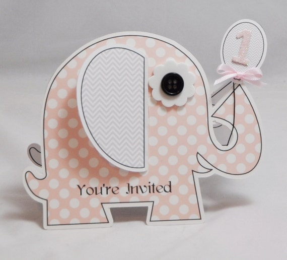 Girl Elephant Shaped Invitations 1st Birthday Pink and Grey