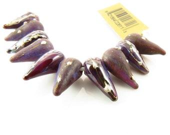 12mm Unicorne Handmade  Lampwork Spike Beads - Purple Rain - 2 beads - 22611
