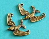 Sale 6pcs Antique Bronze Bird Connector Pendants