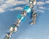 Mermaid Charms Letter Opener Teal Aqua Glass Beads Mermaid with Seahorse Starfish Seashell Merman or Aquarius Zodiac