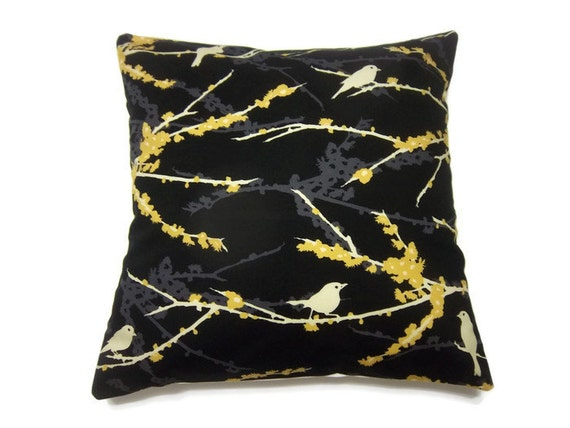 Decorative Pillow Cover Black Yellow Cream Gray Birds Branches  Handmade Toss Throw Accent 16 inch