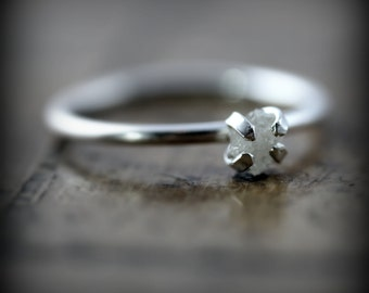 Rough diamond ring -  sterling silver engagement ring with raw diamond