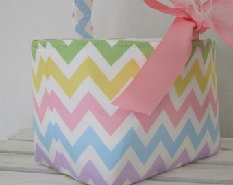 Easter Fabric Candy Basket Bin Bucket Egg Hunt - Pastel Chevron - PERSONALIZED/Name Tag Available - See Note in ListingZigZag Zig Zag Fabric
