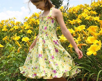 Custom Tiered Twirl Dress Size 12 months to 12 yrs -Field of Flowers