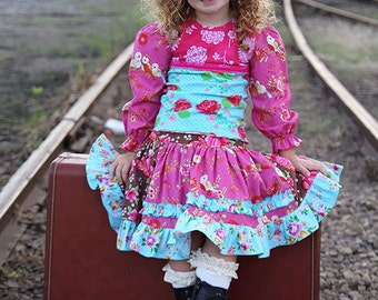 Colorful t-shirt twirl skirt outfit, corduroy brown pink turquoise skirt, ruffled skirt, long sleeve pink turquoise tee, puff sleeve top