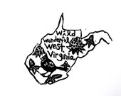 """West Virginia state linoleum block print with text + state bird and flower - 9""""x12"""" wall art"""