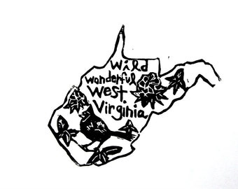 "West Virginia state linoleum block print with text + state bird and flower - 9""x12"" wall art"