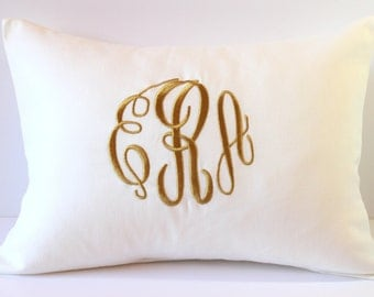 Monogram Pillow Cover. WHITE Baby Keepsake Gift. Nursery Decor. Decorative Pillows. Custom Baby Gift. Personalized Monogrammed for Babies.