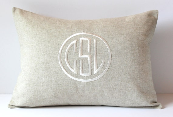 Circle Monogram Pillow Cover. Natural Linen. By SewGracious