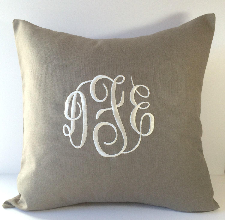 Monogram A Pillow: Monogram Pillow Cover. 18 X 18 Decorative Throw Pillow