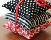 Red & Black Sachet Pillows - Set of 3