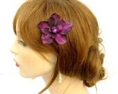 Flower Hair Clip, Dark Purple FLower Hair Clip, Delphinium FLower Clip, Purple Hair Clip, Fairy Flower Clip, Mori Girl