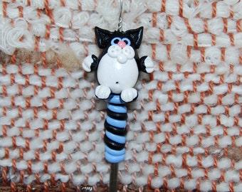 Black Kitty Cat weaving loom heddle hook - polymer clay