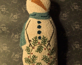 Primitive Needle Punch PATTERN Snowman Doll And Berry Wreath