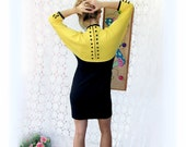 Vintage 1980s  Black and Yellow Dolman Sleeve Dress MED mini wiggle dress color block buttons empire waist geometric dots contrast