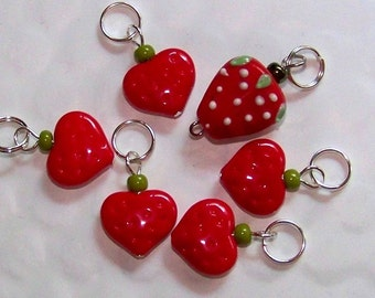 Hand Made Stitch Markers -- Strawberry Hearts