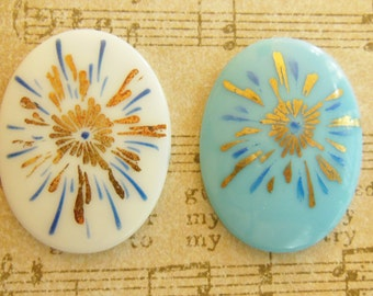Deco cab cameo (2) blue white glass gold starburst cabochon 30 x 40mm (2)