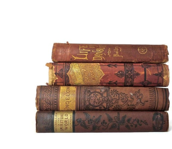 Set of clay red antique books decorative books for by for Antique books for decoration