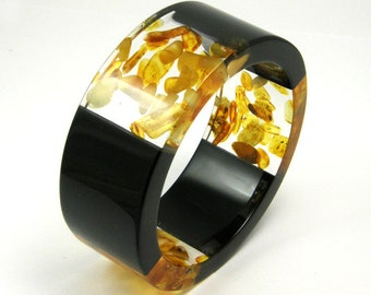 Triple Amber Bracelet, Clear and Black Resin Bangle with Amber, Original Baltic Amber Jewelry