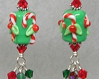 CaNDy CaNe SWeeTieS Handmade Lampwork Art Glass Earrings by Glitterbug Originals SRAJD