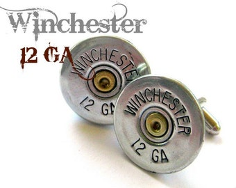 winchester 12 ga shotgun shell bullet jewelry cufflinks cuff links wedding groomsmen