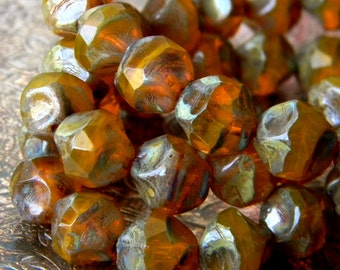 Marmalade Pebbles (10) -Czech Glass Central Cut Rounds 9mm