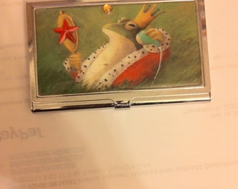 Retro Royal Frog Business Card Holder Credit Card Case