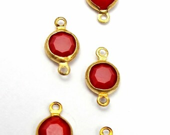 Vintage Cherry Red Swarovski Crystal Rhinestone Connector Charms (8X) (S500)