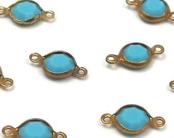 Vintage Turquoise Blue Swarovski Crystal Rhinestone Chennel Connector Charms (12X) (S511)