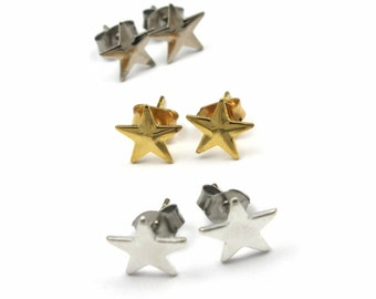 Vintage Assortment of Star Stud Earrings - Gold Plated and Silver Plated (6 Pairs) (J576)