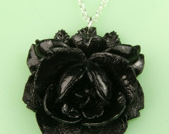 Vintage Large Black Rose Necklace