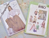 Vintage Costume Sewing Patterns, Western Look Ruffled Skirt and  Blouse, Fringed Vest