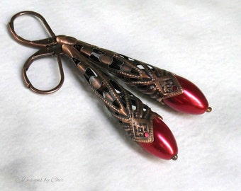 Long Red Satin Earrings, Antique Copper Filigree Cones on Leverbacks - Victorian, Art Nouveau, Steampunk, Gothic, Boho Gypsy