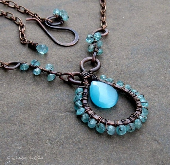 Electric Blue Apatite & Catseye Necklace, Antiqued Copper Metalwork, Adjustable Statement Necklace