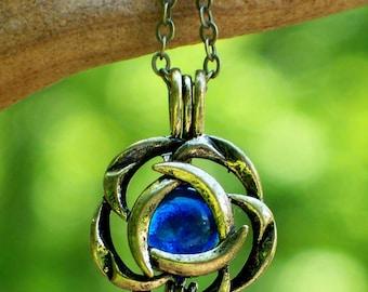 Recycled Vintage Cobalt Noxzema Jar Brass Blossom Necklace
