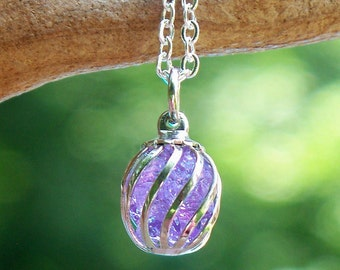 Recycled Early 1900's Purple Bottle Cage Necklace