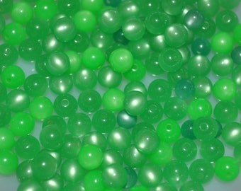 Vintage Lucite Green Small Round  Mix Moonglow Beads 24