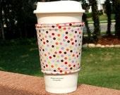FREE SHIPPING UPGRADE with minimum -  Fabric coffee cozy / cup holder / coffee sleeve  / tea sleeve -- Autumn polka dots