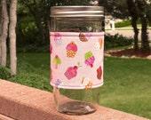 FREE SHIPPING UPGRADE with minimum -  Mason Jar cozy / mason jar sleeve - Cupcakes Galore on Pink