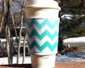 Fabric coffee cozy / cup holder / coffee sleeve / can koosie / mason jar cozy - Aqua Chevron