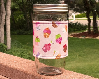 FREE SHIPPING UPGRADE with minimum -  Mason Jar cozy / mason jar sleeve - Cupcakes Galore on Pink