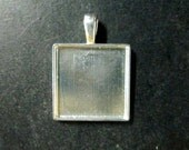 5 21x21mm square bezel settings, silver plated, heavy duty pendant blanks