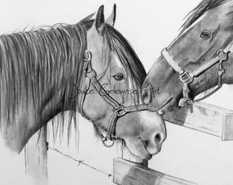 Nuzzling Draft Horses: Pencil Drawing, Printable Art, Draft Horses, Horse Friendship, Western, Ranch, Realism, WHOA Team, INSTANT DOWNLOAD