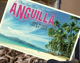 Vintage Postcard Save the Date (Anguilla) - Design Fee
