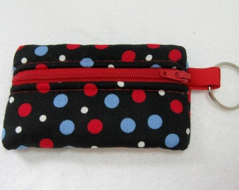 Coin Purse - Dots Change Purse - Red Blue Dots - Keychain Coin Purse - Small Zipper Pouch